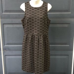 LOFT | Fan Print Grey Dress
